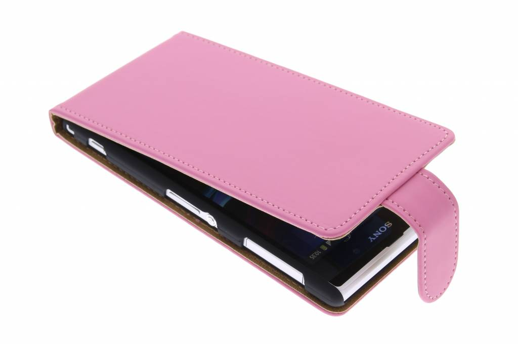 Roze classic flipcase voor Sony Xperia Z1