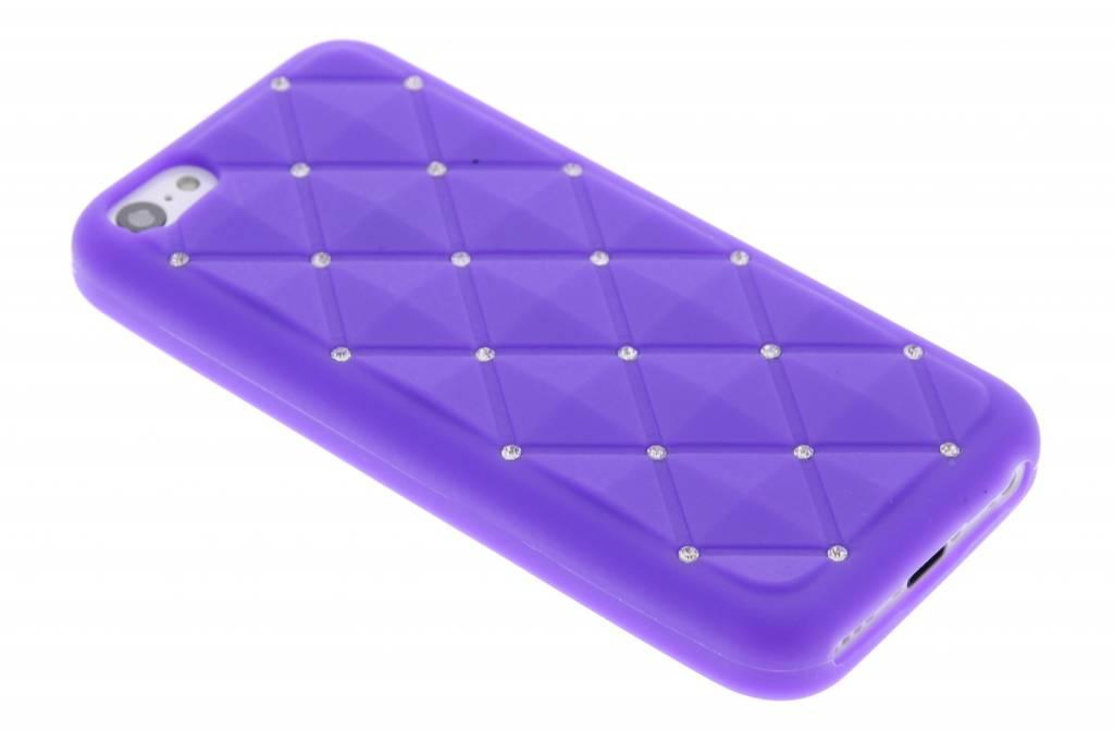 Paars siliconen hoesje met strass voor de iPhone 5c