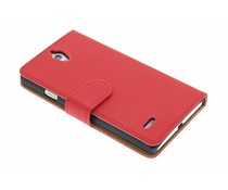 Rood effen booktype hoes Huawei Ascend G700