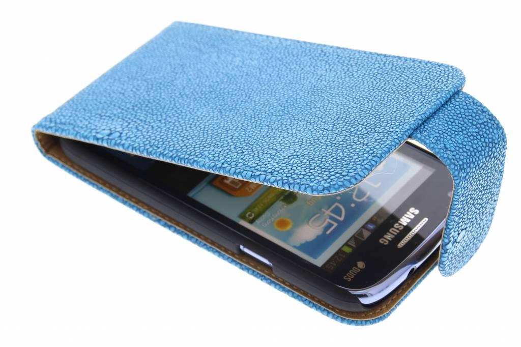 Blauwe glanzend ribbelige flipcase voor de Samsung Galaxy Core i8260