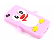 Roze pinguin siliconen hoesje iPhone 4(s)
