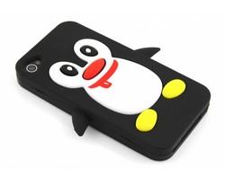 Zwart pinguin siliconen hoesje iPhone 4(s)
