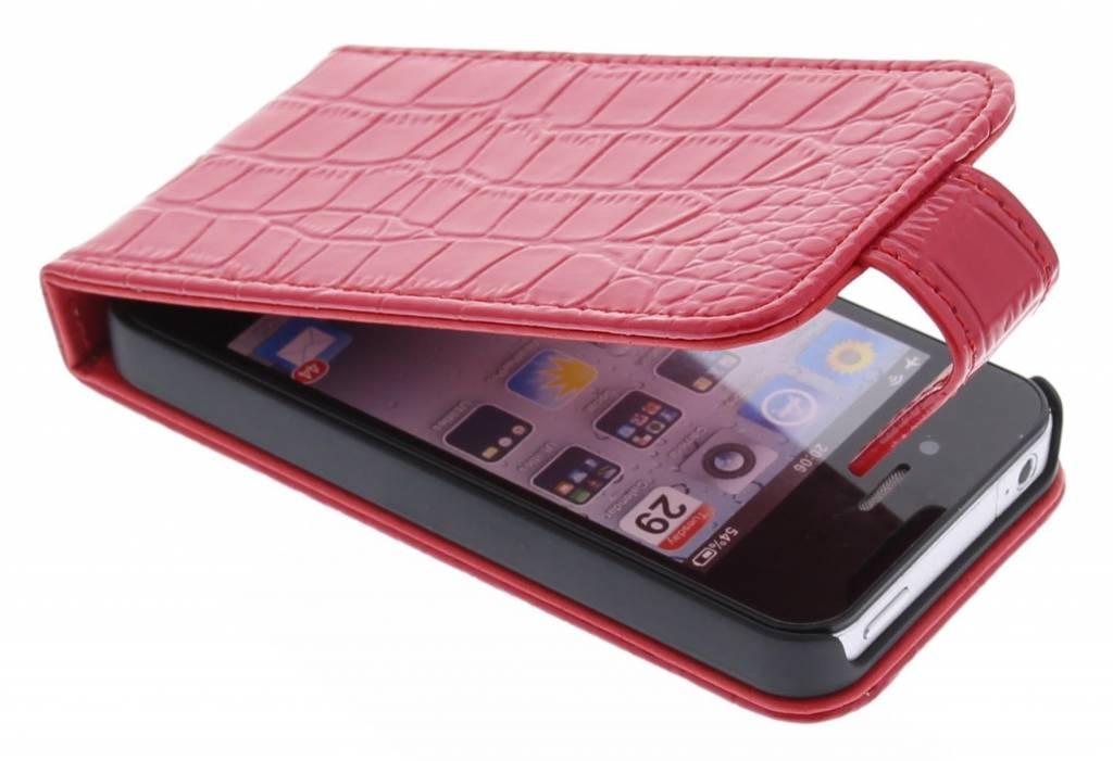 Rode krokodil flipcase voor de iPhone 4 / 4s