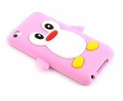 Roze pinguin siliconen hoesje iPod Touch 4g
