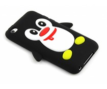 Zwart pinguin siliconen hoesje iPod Touch 4g