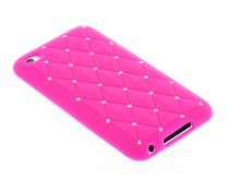 Fuchsia siliconen hoesje met strass iPod Touch 4g