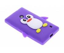Paars pinguin siliconen hoesje Nokia Lumia 520 / 525