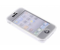 Wit transparant siliconen booktype hoes iPhone 4 / 4s