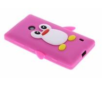 Fuchsia pinguin siliconen hoesje Nokia Lumia 520 / 525