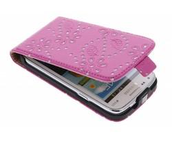 Fuchsia bloemblad flipcase Samsung Galaxy Core