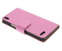 Roze effen booktype Huawei Ascend P6 / P6s