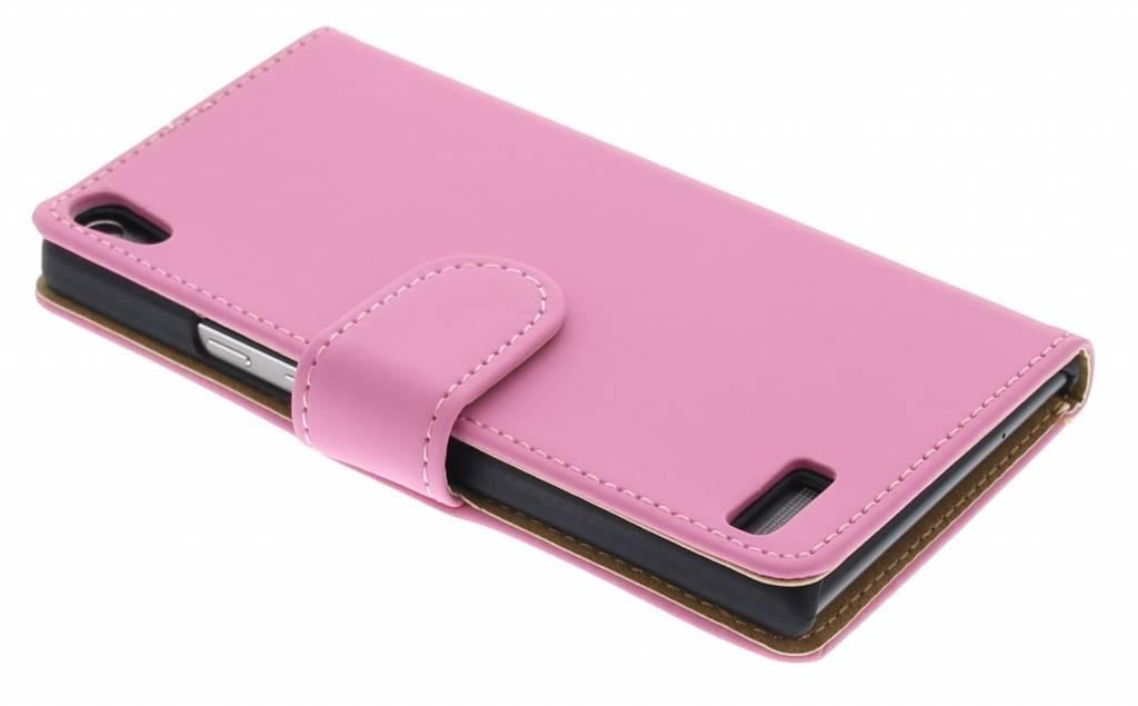 Roze effen booktype hoes voor de Huawei Ascend P6 / P6s