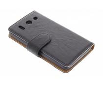 Zwart washed lederen booktype hoes Huawei G510