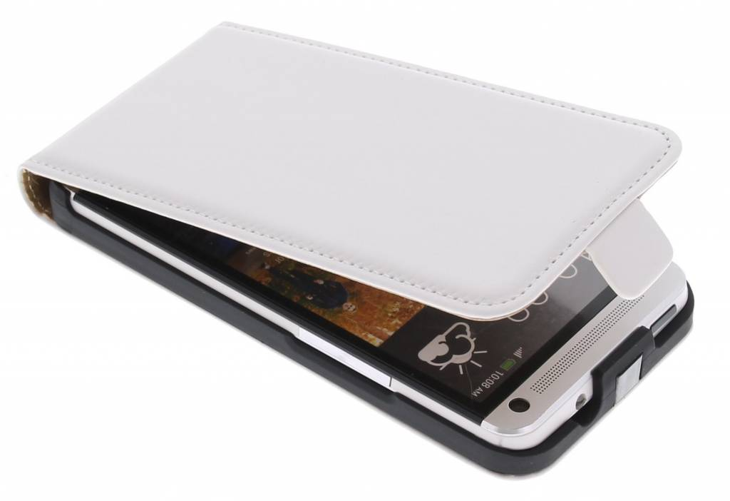 Witte luxe flipcase voor HTC One