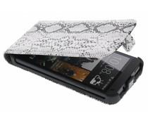 Grijs slangenhuid flipcase HTC One