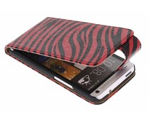 Rood zebra flipcase HTC One