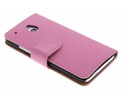 Roze effen booktype hoes HTC One Mini
