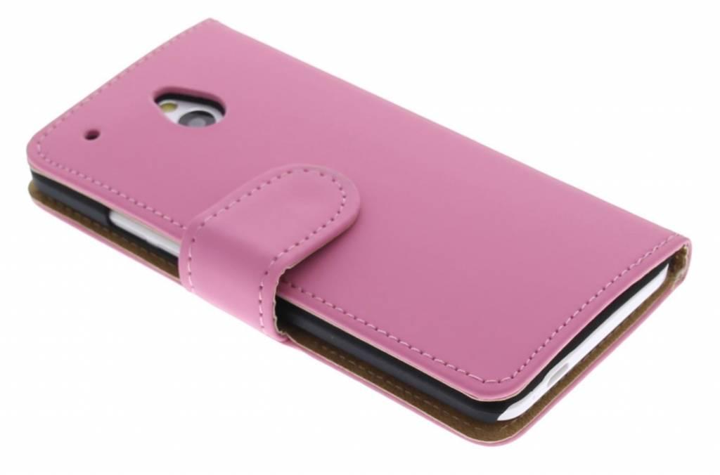 Roze effen booktype hoes voor de HTC One Mini
