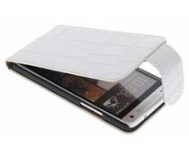 Wit krokodil flipcase hoes HTC One Mini