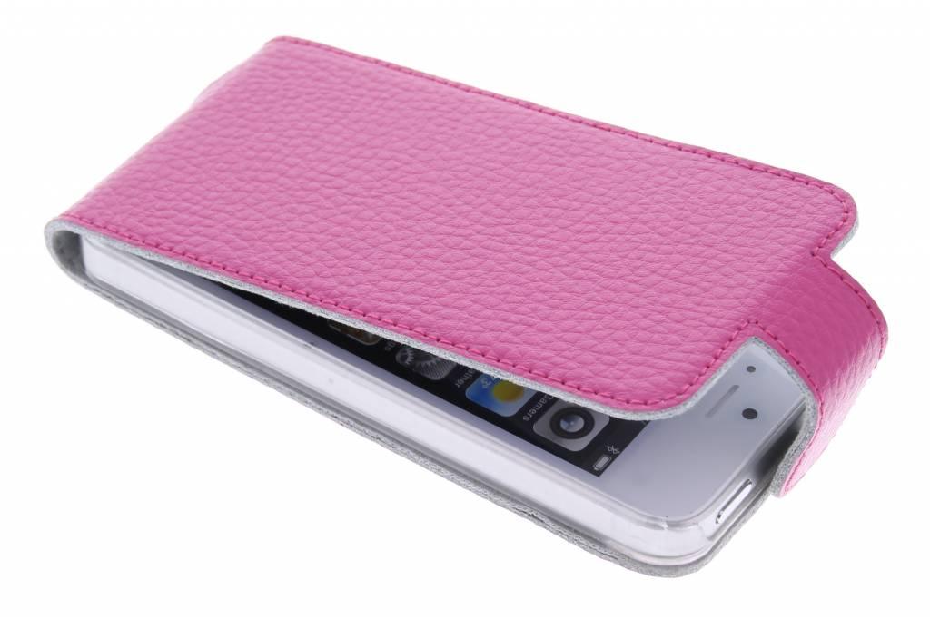 Roze modieuze flipcase voor de iPhone 5 / 5s / SE