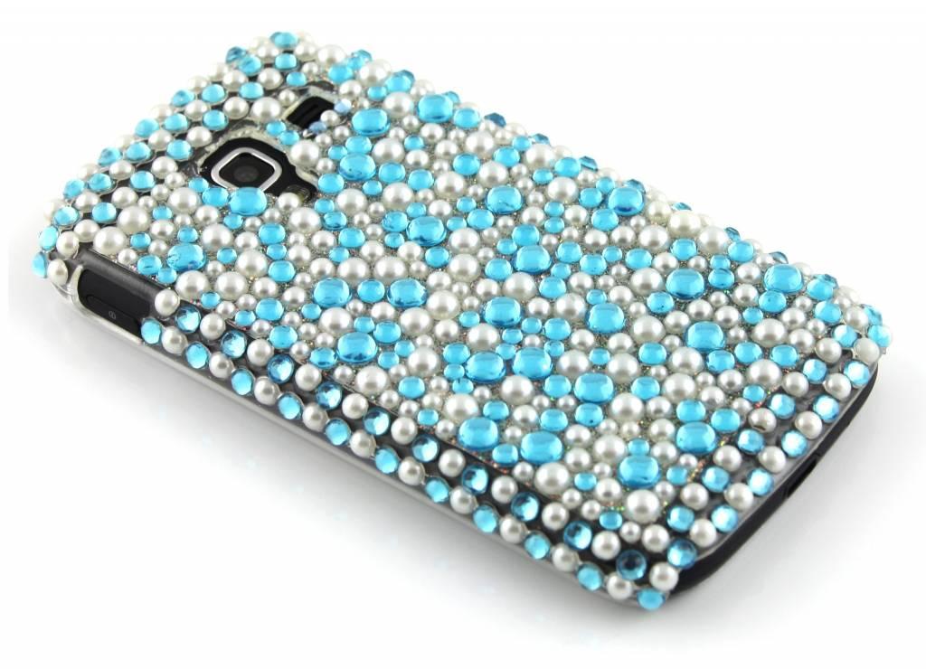 Blauw pareltjes BlingBling hardcase hoesje met strass steentjes voor de Samsung Galaxy Ace 2 i8160