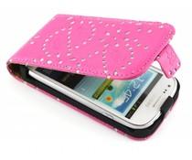Fuchsia bloemblad design flipcase Samsung Galaxy Ace 2