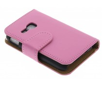Roze effen booktype hoes Samsung Galaxy Young