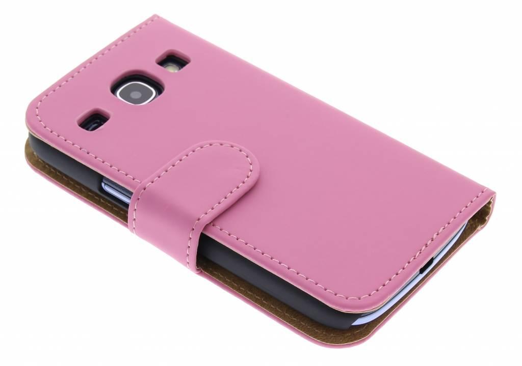 Roze effen booktype hoesje voor Samsung Galaxy Core