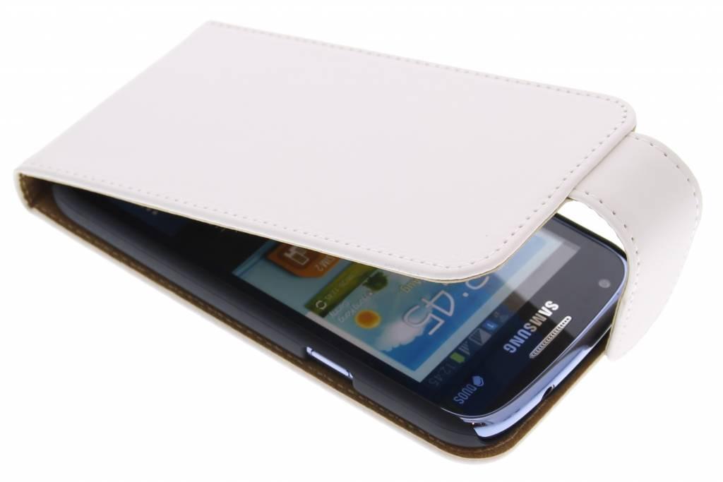 Wit classic effen flipcase hoesje voor Samsung Galaxy Core