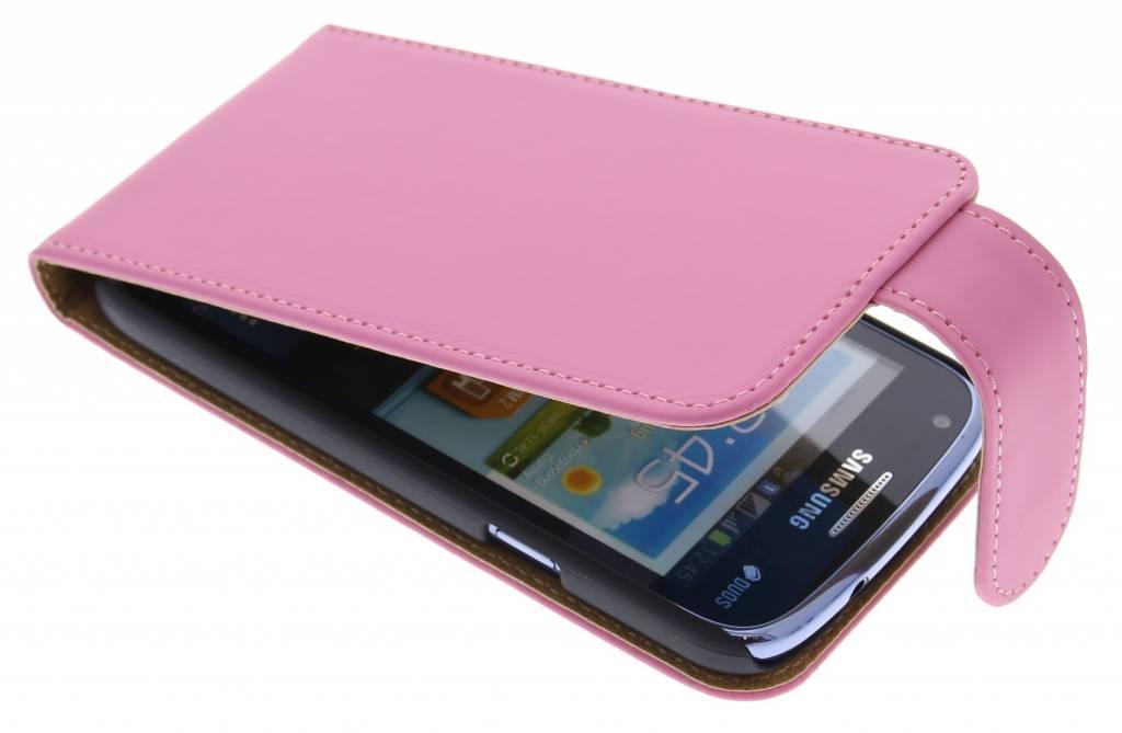 Roze classic effen flipcase hoesje voor Samsung Galaxy Core