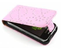 Roze bloemblad design flipcase Samsung Galaxy Ace