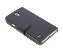 Zwart effen booktype hoes Huawei Ascend G700