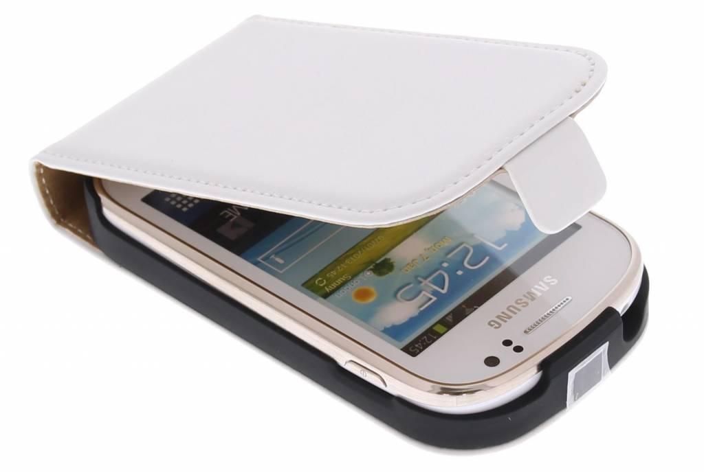 Wit luxe flipcase voor Samsung Galaxy Fame