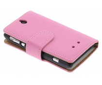 Roze booktype hoes Sony Xperia E
