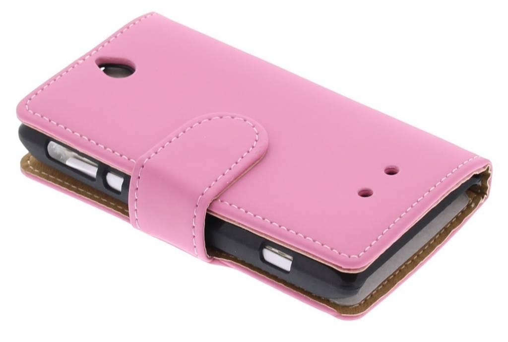 Roze effen booktype hoes voor de Sony Xperia E