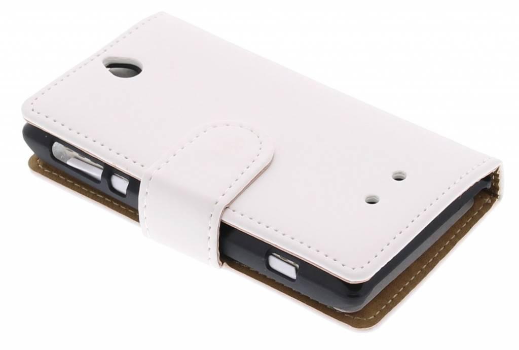 Witte effen booktype hoes voor de Sony Xperia E