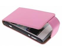 Roze classic flipcase Sony Xperia E