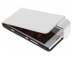 Wit classic effen flipcase Sony Xperia SP