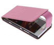 Roze classic effen flipcase Sony Xperia SP