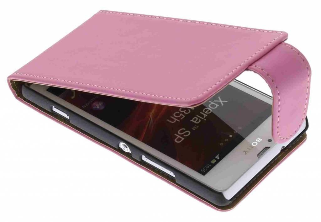 Roze classic effen flipcase voor de Sony Xperia SP