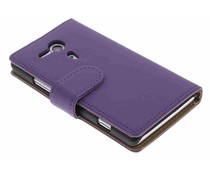 Paars effen booktype hoes Sony Xperia SP