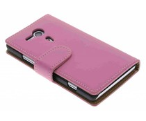 Roze effen booktype hoes Sony Xperia SP