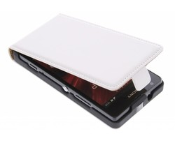 Wit luxe flipcase Sony Xperia SP