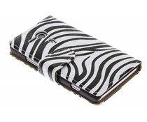 Wit zebra booktype hoes Sony Xperia SP