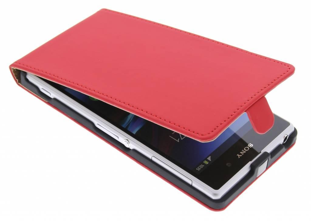 Rood luxe flipcase voor Sony Xperia Z1