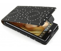Zwart bloemblad design flipcase LG Optimus L9