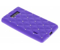 Paarse siliconen hoesje met strass LG Optimus L7