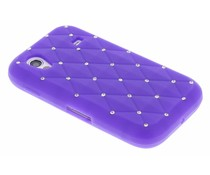 Paars siliconen hoesje met strass Samsung Galaxy Ace