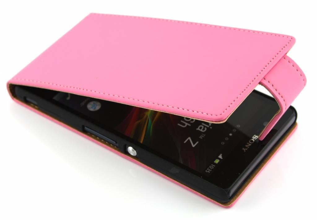 Roze classic flipcase voor de Sony Xperia Z