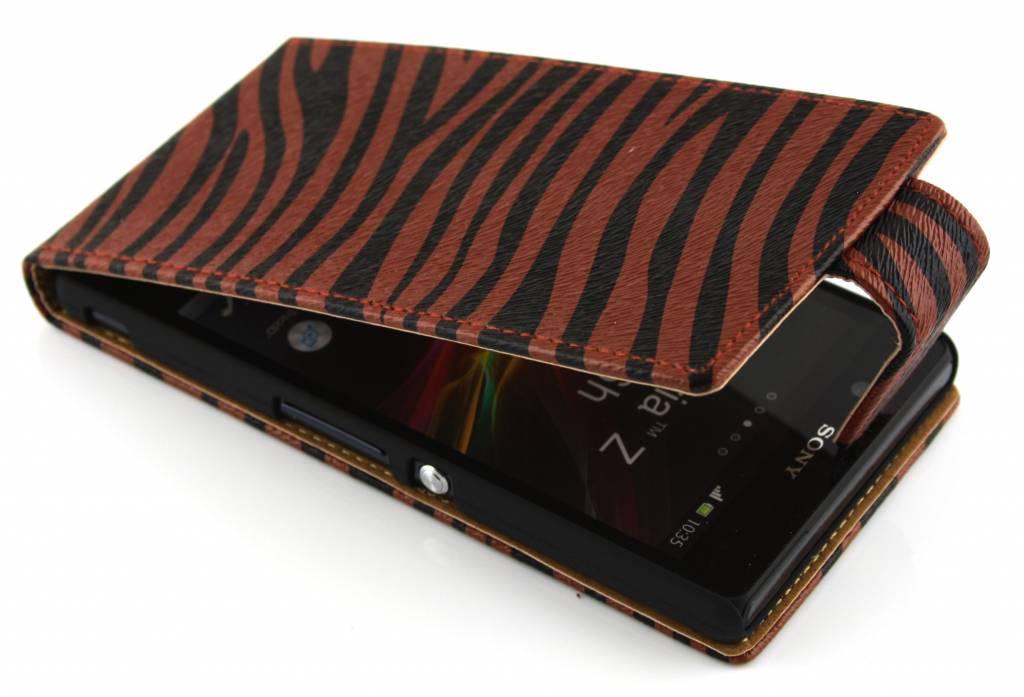 Bruin-Rood zebra classic flipcase voor de Sony Xperia Z